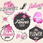 Flower Shop Design Elements, Labels and Badges in Vintage Style — Stock Vector #65583617
