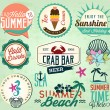 Summer Holiday Calligraphic Designs, Badges and Labels in Vintage Style — Stock Vector #65584245