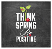Think Spring Typography Background on Chalkboard — Stock Vector