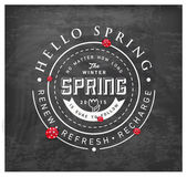Spring Typography Background on Chalkboard — Stock Vector