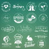Spring Illustrations, Badges and Typography Elements in Vintage Style — Vector de stock