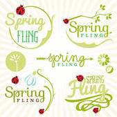 Spring Design Elements. Labels and Badges — Stock Vector