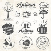 Cute Autumn Illustrations and Badges Set in Vintage Style — Stock Vector