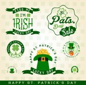 Saint Patrick's Day Typographical Design Elements and Badges — Stock Vector
