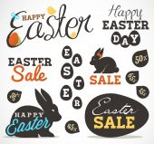 Easter Greeting Card Design Elements, Labels and Badges in Vintage Style. Vector Illustrations — Stock Vector