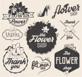 Flower Shop Design Elements, Labels and Badges in Vintage Style — Vettoriale Stock