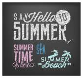 Summer Calligraphic Designs in Vintage Style on Chalkboard — Stock Vector
