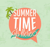 Summer Time Is Here Calligraphic Designs in Vintage Style — 图库矢量图片