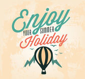 Enjoy Your Summer Holiday Calligraphic Designs in Vintage Style — Stock Vector