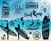 Surfer Vector Elements in Vintage Style — Vector de stock