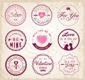 Love Badges and Typography Elements — Stock Vector