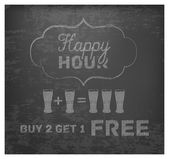 Happy Hour Hand Drawn Design on Blackboard. Buy 2 Get 1 Free — Stock Vector