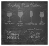 Happy Hour Hand Drawn Design on Blackboard — Vettoriale Stock