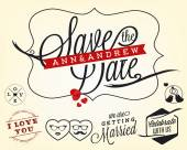 Save the Date Wedding Design Elements in Vintage Style — Stok Vektör