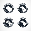 Dog Silhouettes Vector Collection. Vintage Dog Badges — Stock Vector #65756299