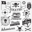 Collection of Pirate Design Elements in Vintage Style. Vector Illustration — Stock Vector #65757811