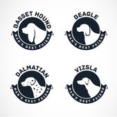 Dog Silhouettes Vector Collection. Vintage Dog Badges — Stock Vector