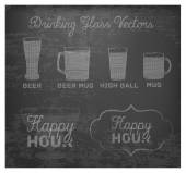 Happy Hour Hand Drawn Design on Blackboard. — Stockvektor