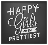 """Vintage Image with text """"Happy girls are the prettiest"""" in Retro style — Stock Vector"""
