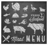 Retro Meat Menu Icons on Chalkboard — Stok Vektör