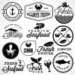 Collection of Seafood Restaurant Labels, Badges and Icons in Vintage Style — Stock Vector #65760029