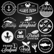 Collection of Seafood Restaurant Labels, Badges and Icons in Vintage Style — Stock Vector #65760037