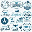 Collection of Seafood Restaurant Labels, Badges and Icons in Vintage Style — Stock Vector #65760049