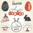 Easter Greeting Card Design Elements, Labels and Badges in Vintage Style. Vector Illustrations — Stock Vector #66004881