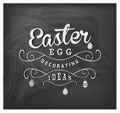 Easter Egg Decorating Ideas Typographical Text on Chalkboard — Stock Vector