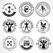 Sports, Fitness, Body Building, Yoga Badges and labels in Vintage Style — Stock Vector