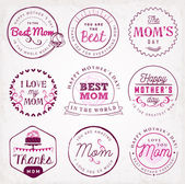 Mother's Day Badges and Labels in Vintage Style — Vetor de Stock