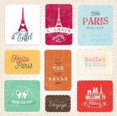 Colorful Paris badges and Labels in Vintage Style — Stock Vector
