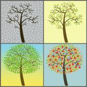 Trees collection - four seasons — Stock Vector