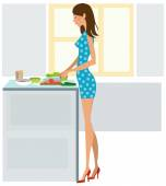 Young woman cooking dinner — Stock Vector