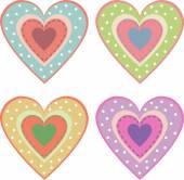 Set of cute hearts — Stock Vector