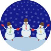 Three cheerful snowmen — Stock Vector