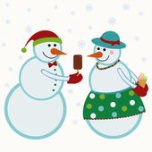 Snowmen give gifts — Stock Vector