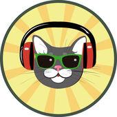 Gato engraçado com fones de ouvido e óculos de sol — Vetor de Stock