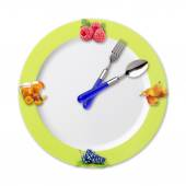 Kitchen clock with fruit — Stock Photo