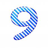 The number nine from the caramel color is blue — Stock Photo