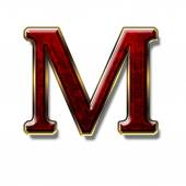 Letter M - precious stone is red — Stock Photo