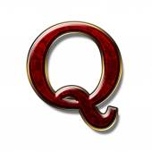 Letter Q - precious stone is red — Stock Photo