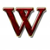 Letter W - precious stone is red — Stock Photo