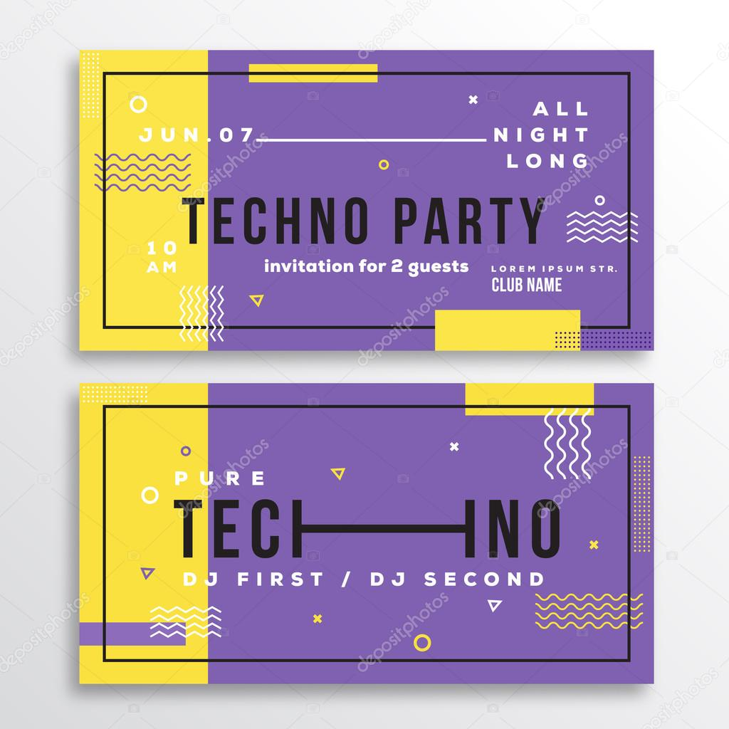 night techno party club invitation card or flyer template modern night techno party club invitation card or flyer template modern abstract flat swiss style background