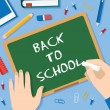 Back to School Flat Style Blackboard Vector Background With Chalk Pins Clips Pen Pencil and Books — Stok Vektör #53709407