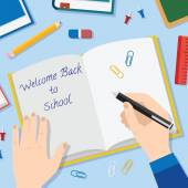 Back to School Flat Style Vector Background With Opened Textbook Pencils Pen Books and Other Stationary — Vetorial Stock