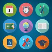 Flat Style Back to School Stationary Vector Icon Set — Stock Vector