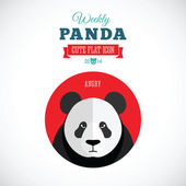 Weekly Panda Cute Flat Animal Icon - Angry — Stock Vector