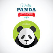 Weekly Panda Cute Flat Animal Icon - Surprised — Stock Vector