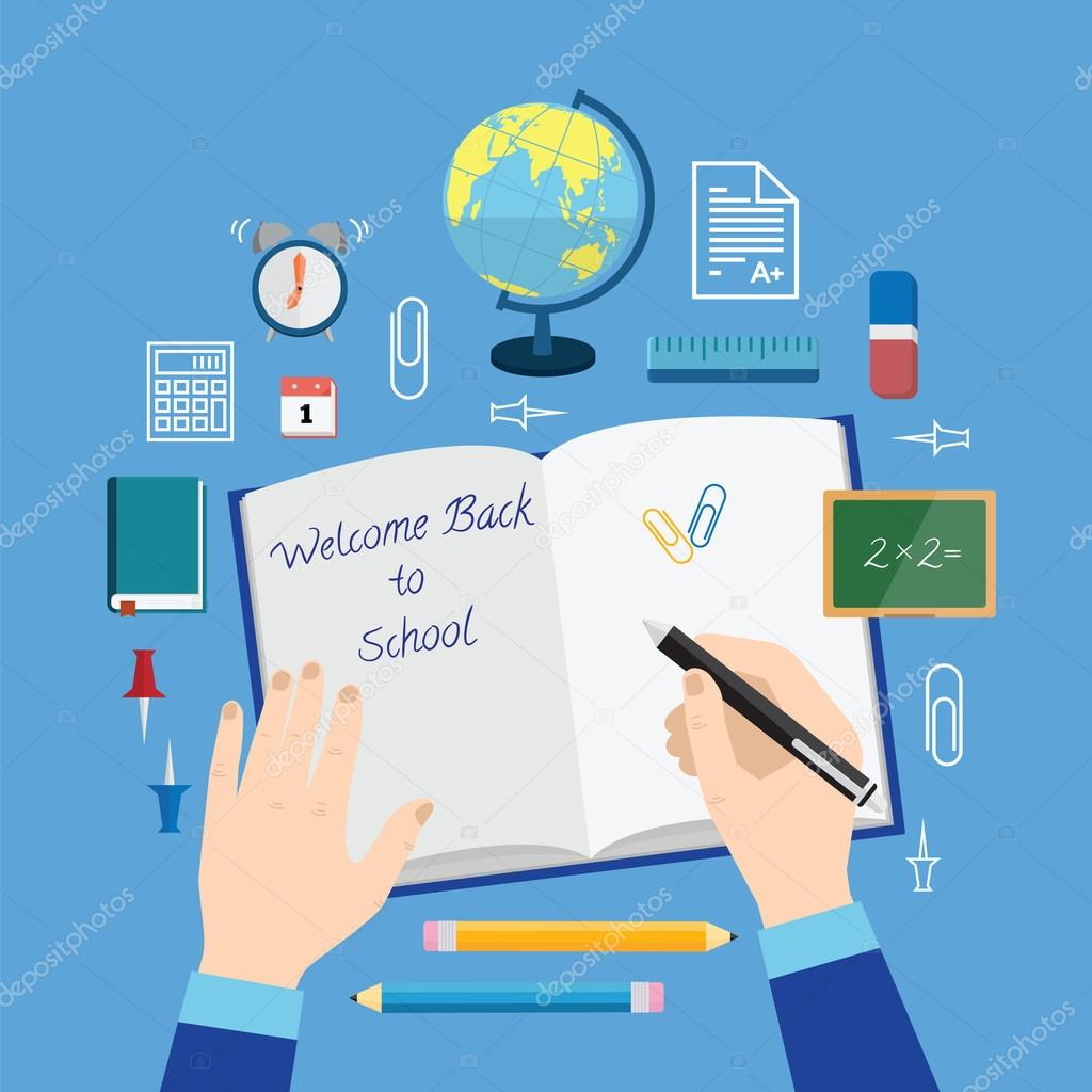 Back Icon Flat Back to School Flat Style